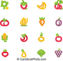 verdura, vettore, set, frutte