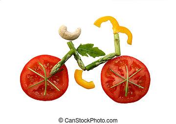 verdure affettate, bicicletta, forma