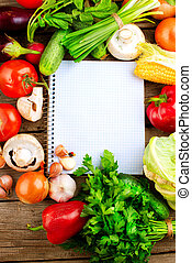 verdure fresche, dieta, fondo., aperto, quaderno