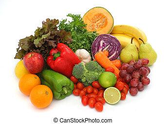 verdure fresche, gruppo, colorito, frutte