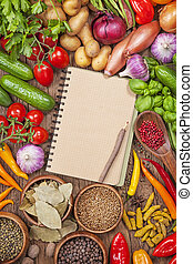 verdure fresche, libro, ricetta, vuoto