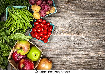 verdure fresche, mercato, frutte