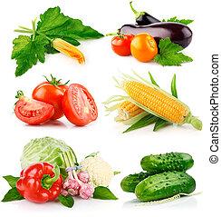 verdure fresche, set, congedi verdi