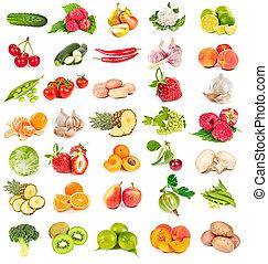 verdure fresche, set, frutte