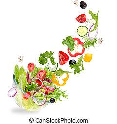 verdure fresche, volare, insalata, ingredienti