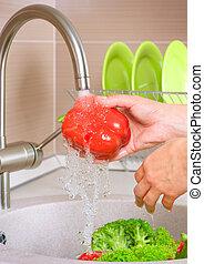 verdure fresche, washing., cibo., sano, cucina