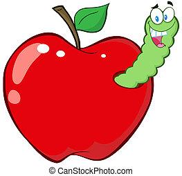 verme, mela rossa
