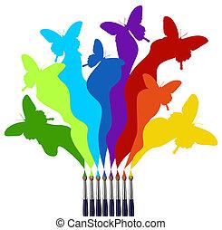 vernice, arcobaleno, farfalle, colorato, spazzole