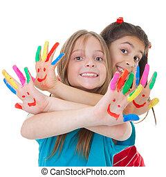 vernice, bambini giocando