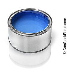 vernice blu, barattolo latta