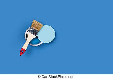 vernice blu, fondo, vaso, brush.