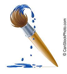 vernice blu, pittura, sgocciolatura, spazzola