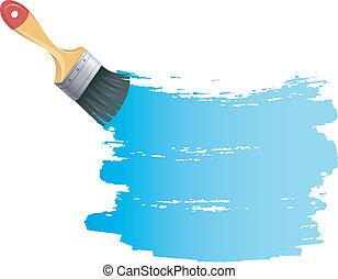 vernice blu, schizzo, spazzola