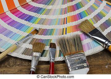vernice, colorare, ventilatore, multi, spazzola, pantone