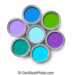 vernice, colori, fresco, tavolozza, lattine