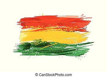 vernice, colorito, grunge, bandiera, texture., bolivia, smears, fatto, splashes.