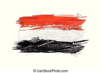 vernice, colorito, grunge, bandiera, texture., smears, fatto, egitto, splashes.