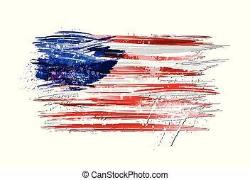 vernice, colorito, grunge, bandiera, texture., smears, fatto, stati uniti, splashes.