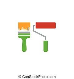 vernice, costruzione, spazzole, icona