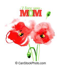vernice, day., felice, madre, typographical, acquarello, vettore, cartelle, disegno, rosso, illustration., bello, poppy.