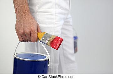 vernice, decoratore, tenere spazzola