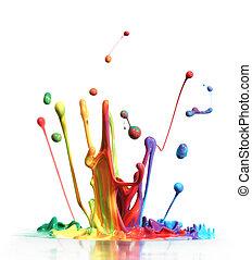 vernice, gli spruzzi, bianco, isolato, colorito