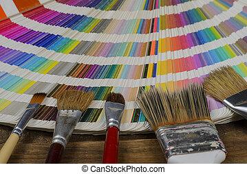 vernice, multi, colorare, spazzola ventilatore, pantone