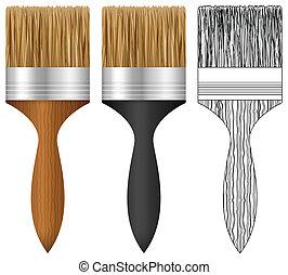 vernice, set, spazzola