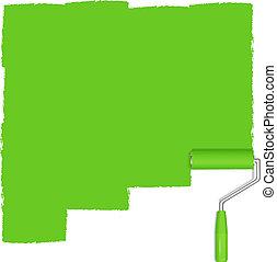 vernice, sfondo verde, rullo