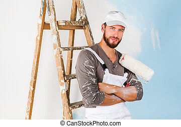 vernice, sorridente, spazzola, pittore, bello