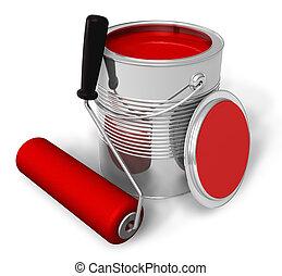 vernice, spazzola rossa, rullo, lattina