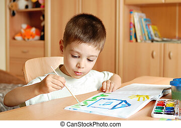 vernici, disegnare, stanza, bambini, bambino