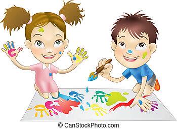 vernici, gioco, bambini, giovane, due
