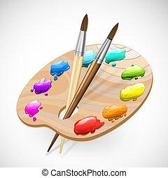 vernici, spazzole, wirh, arte, tavolozza, matita