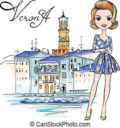 verona, carino, ragazza, moda, italia