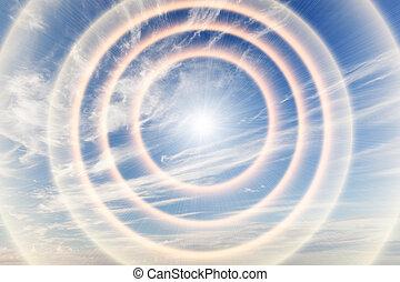 verso, cielo, tunnel, luce, religione, sun., dio, providence.