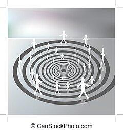 verso il basso, percorso, camminare, spirale, persone