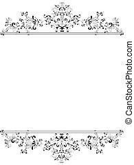 verticale, nero, floreale, cornice, vendemmia, bianco