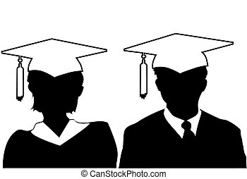 veste, donna, silhouette, &, berretto, laureato, laureati, uomo