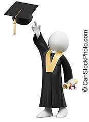 veste, vestito, berretto, graduazione, studente, giorno, 3d