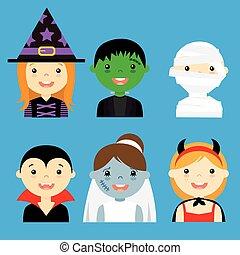 vestito, hallowe, avatar, bambini