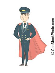 vestito, pilota, superhero., giovane, caucasico