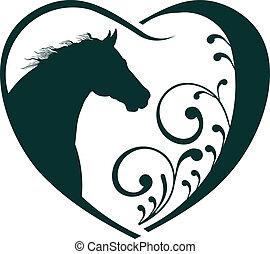 veterinario, cuore, cavallo, love.