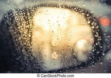vetro acqua, gocce, automobile