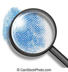 vetro, attraverso, ingrandendo, impronta digitale