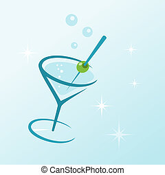 vetro, bevanda, martini