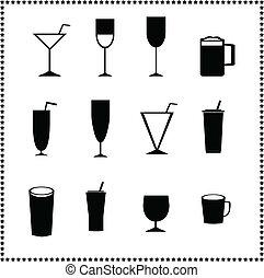 vetro, bevande, icone, bibite