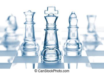 vetro, bianco, isolato, trasparente, scacchi