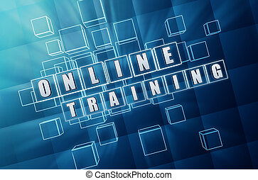 vetro blu, addestramento, cubi, linea