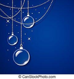 vetro blu, palle, trasparente, fondo